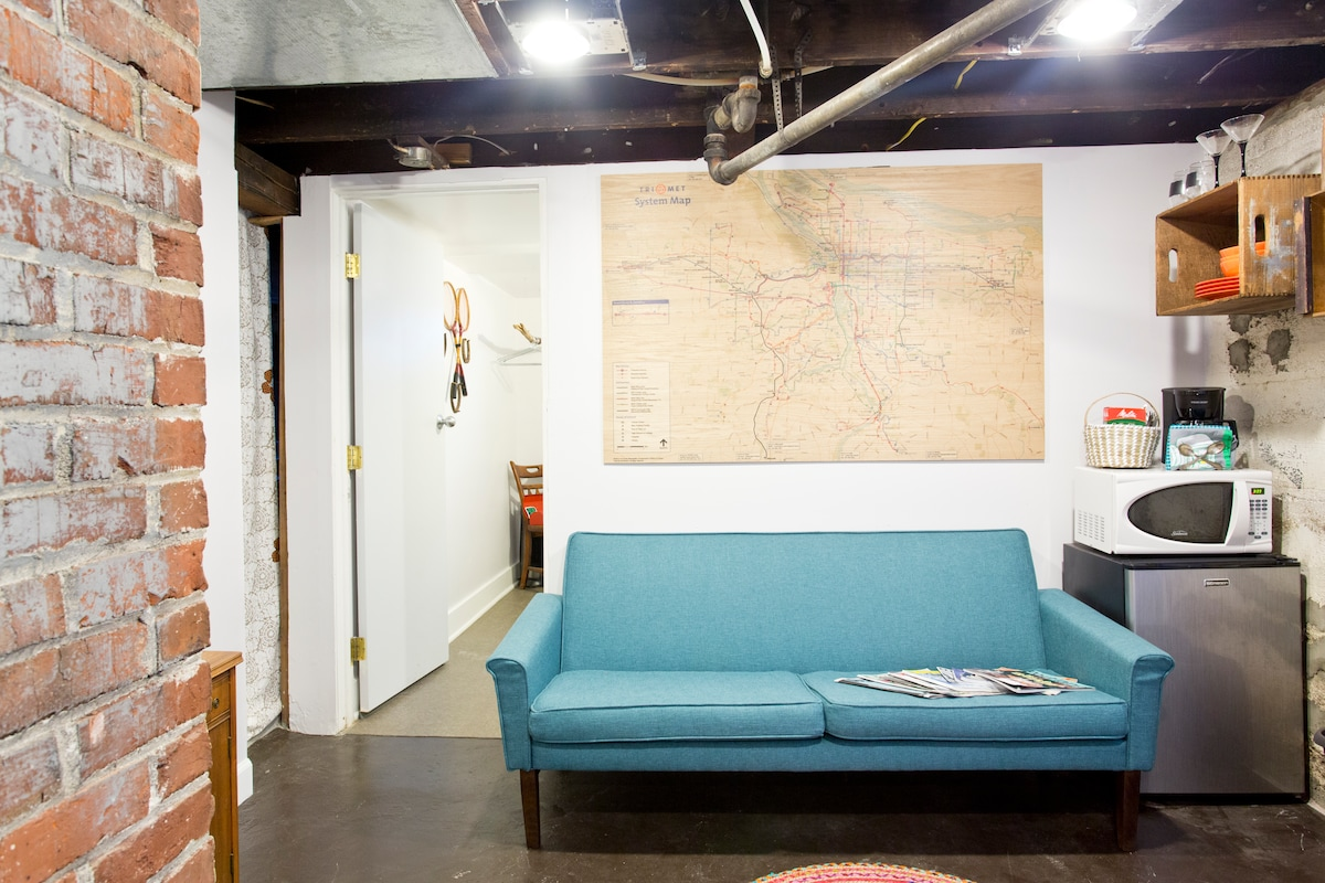 Living Space w/ custom large-format TriMet map on plywood - beautiful AND helpful!
