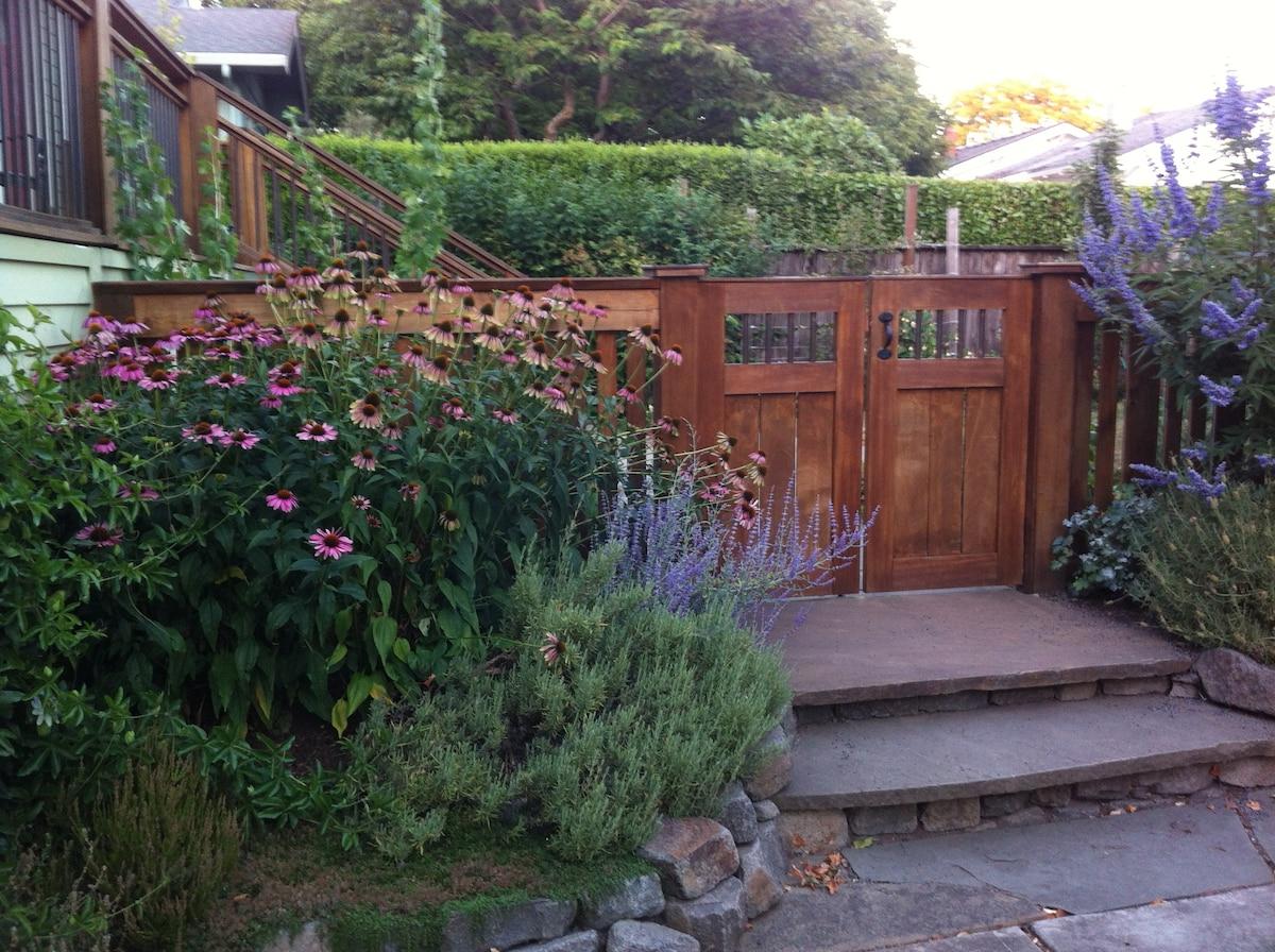 My husband's beautiful gates and echinacea augustifolia