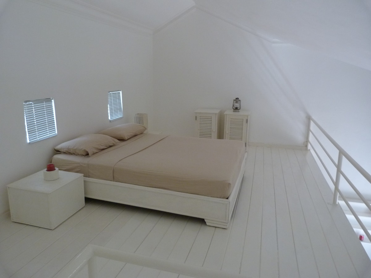 King size bed on mezzanine