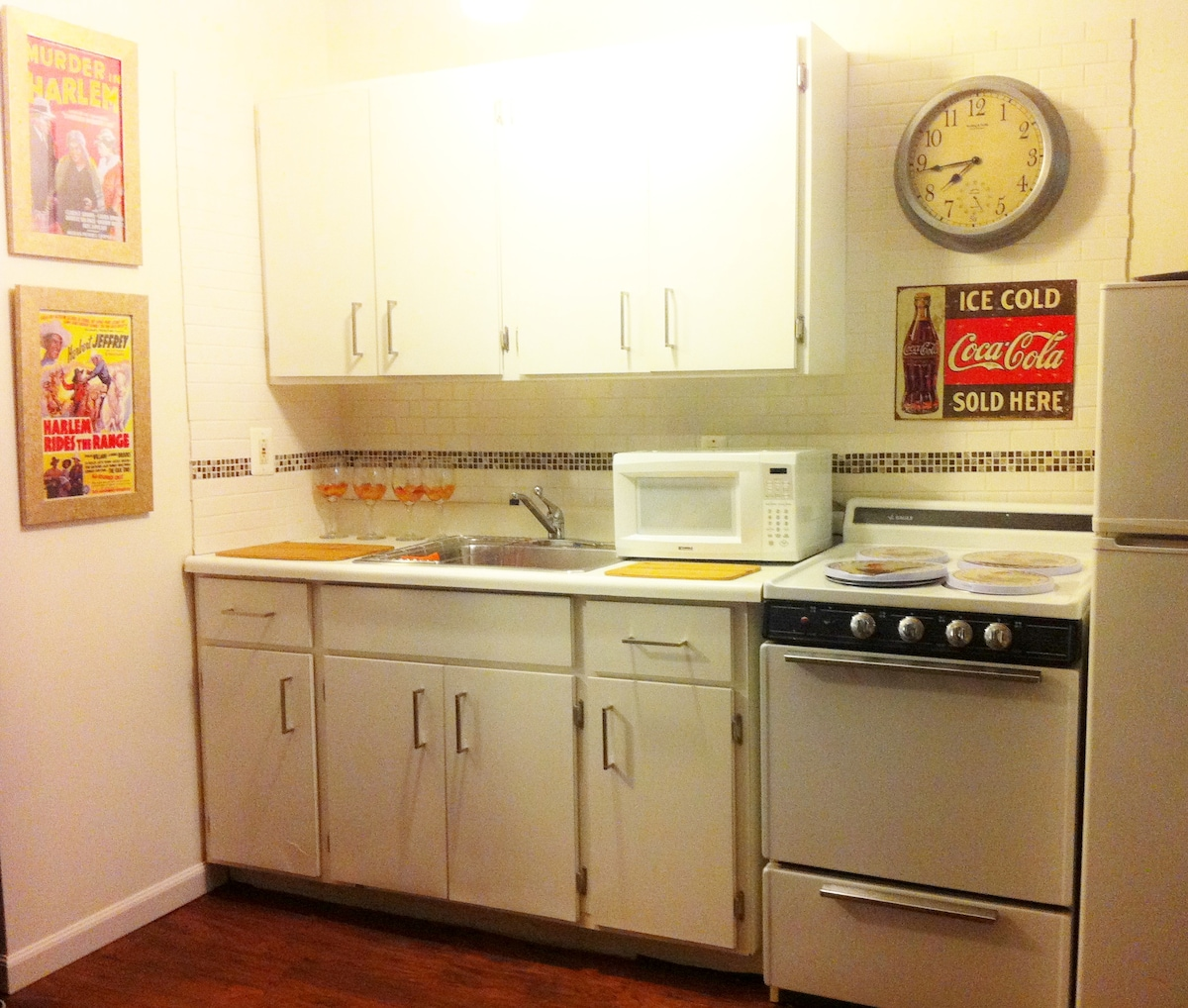 Kitchenette with microwave, coffee maker and more.
