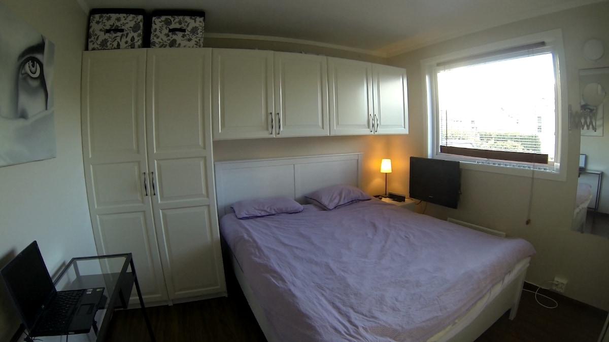 Cozy bedroom with tv.
