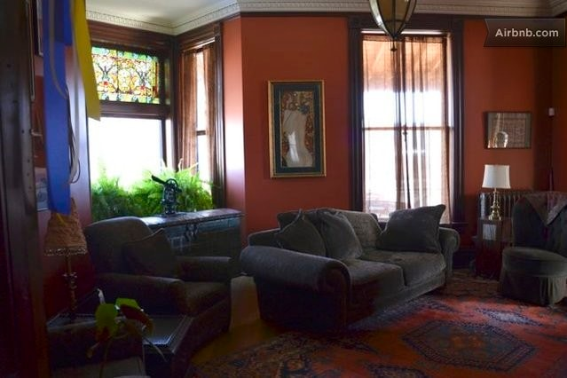 Living room available for guest enjoyment and relaxation.  Music parlor, reading room, deck with views and sauna also available.