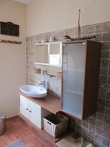 la salle de bain avec des rangements et une vasque et sèche serviette mural