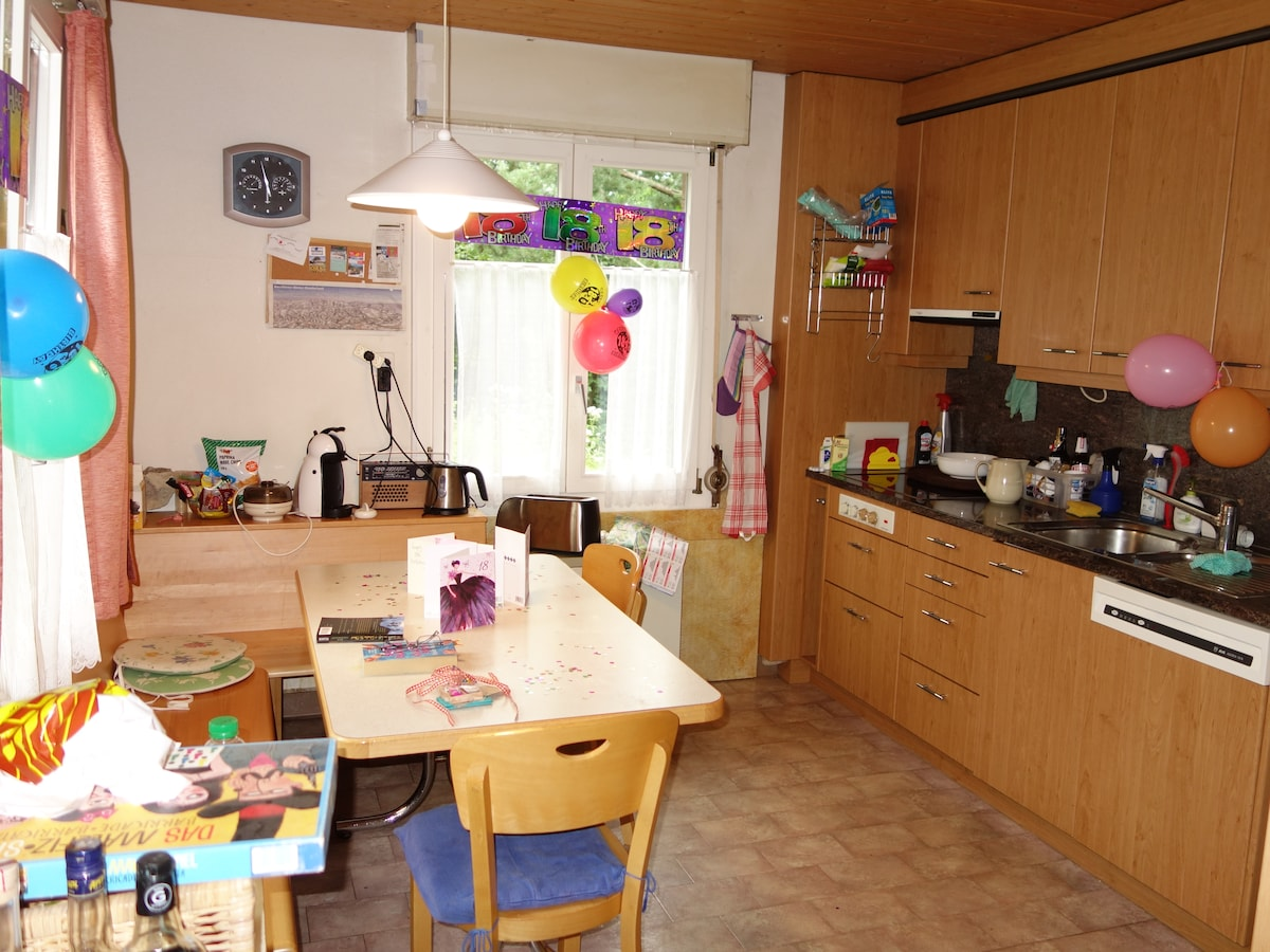 The big kitchen in South-West serves also as social meeting place. Here, it was decorated for a children's birthday.