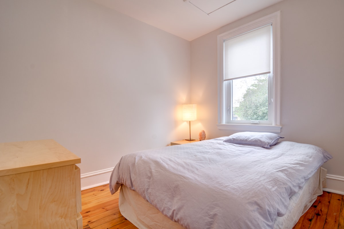 Comfortable double bed with warm duvet.