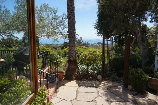 Garden, sea and island views from the bedroom