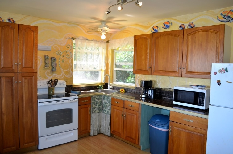 fully-equipped kitchen at Whispering Bamboo Cottage