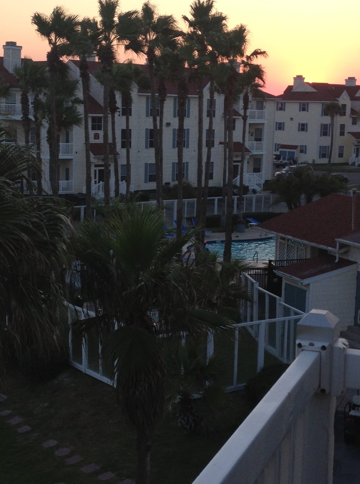 View of hot tub nestled in palm tree grove, pool, sauna and gym, all available 24/7