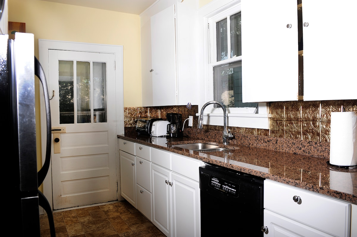 Brand new kitchen with modern appliances.  Plenty of room to cook up a family feast.  The kitchen is stocked with all the basics, just let me know if you need anything special!
