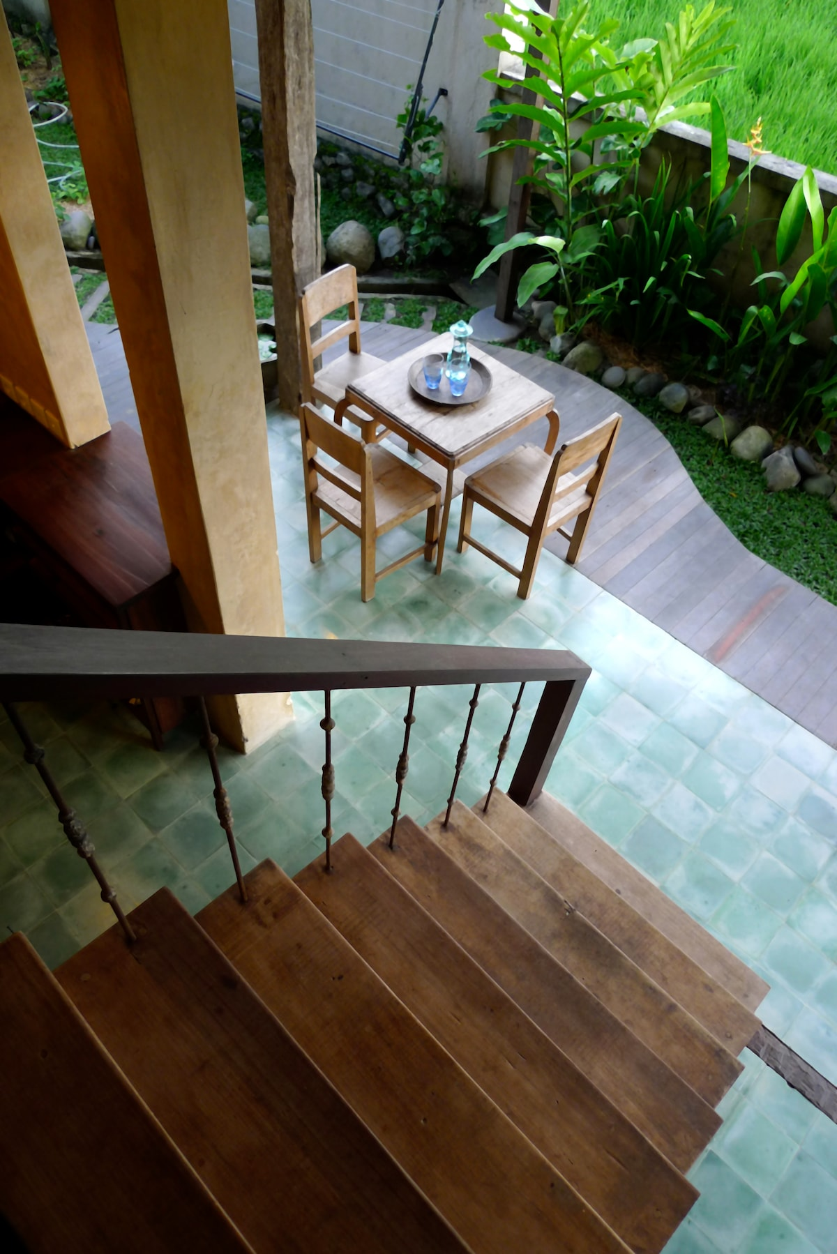 Looking down onto the deck from stairway