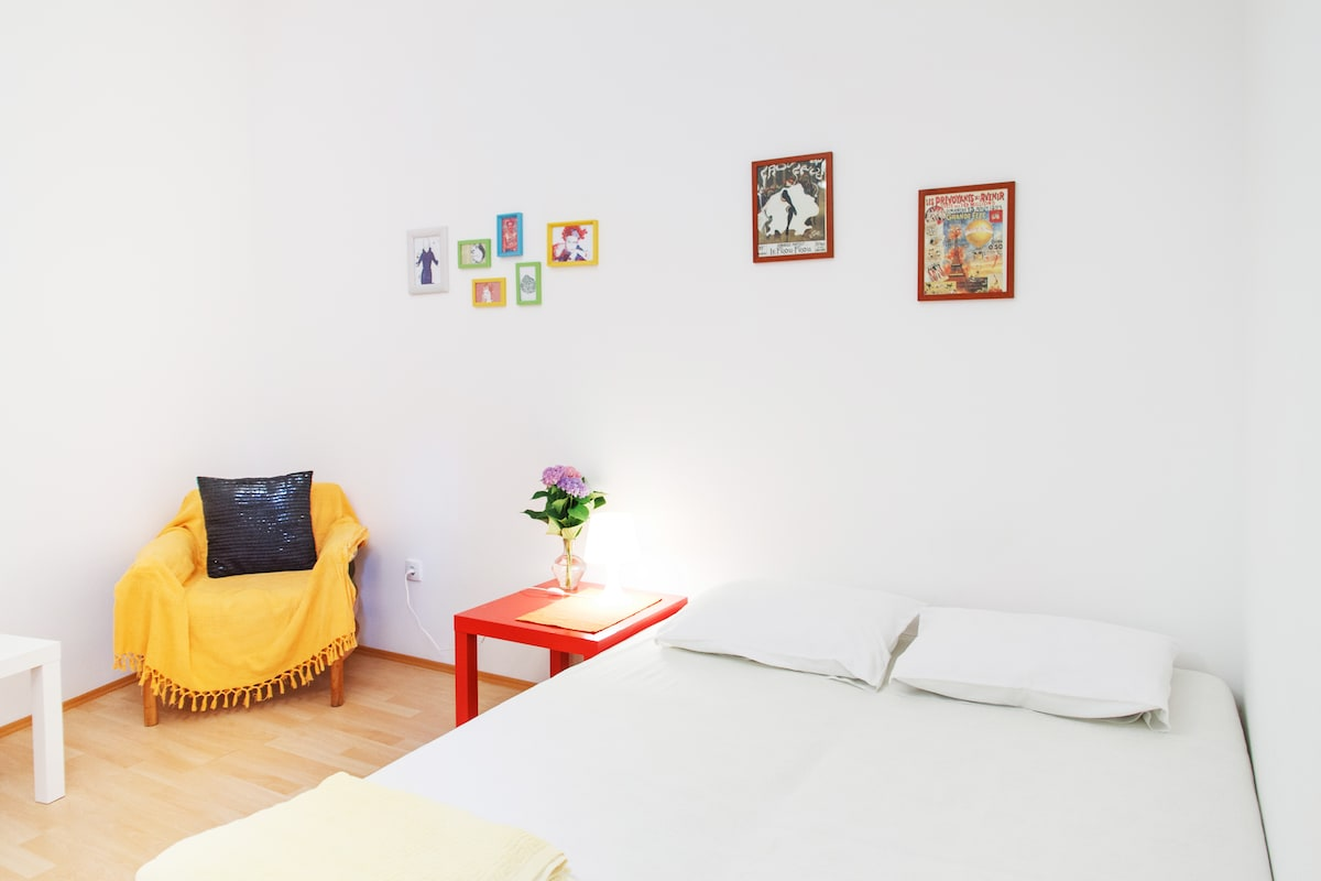 Cozy main room and comfortable bed