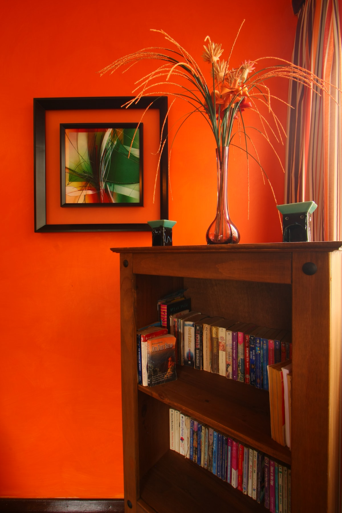 You may borrow a book from our small library and leave a book for other guests