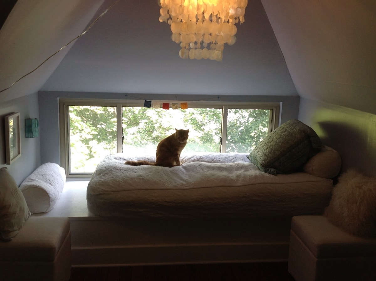 Window nook is perfect for reading.
