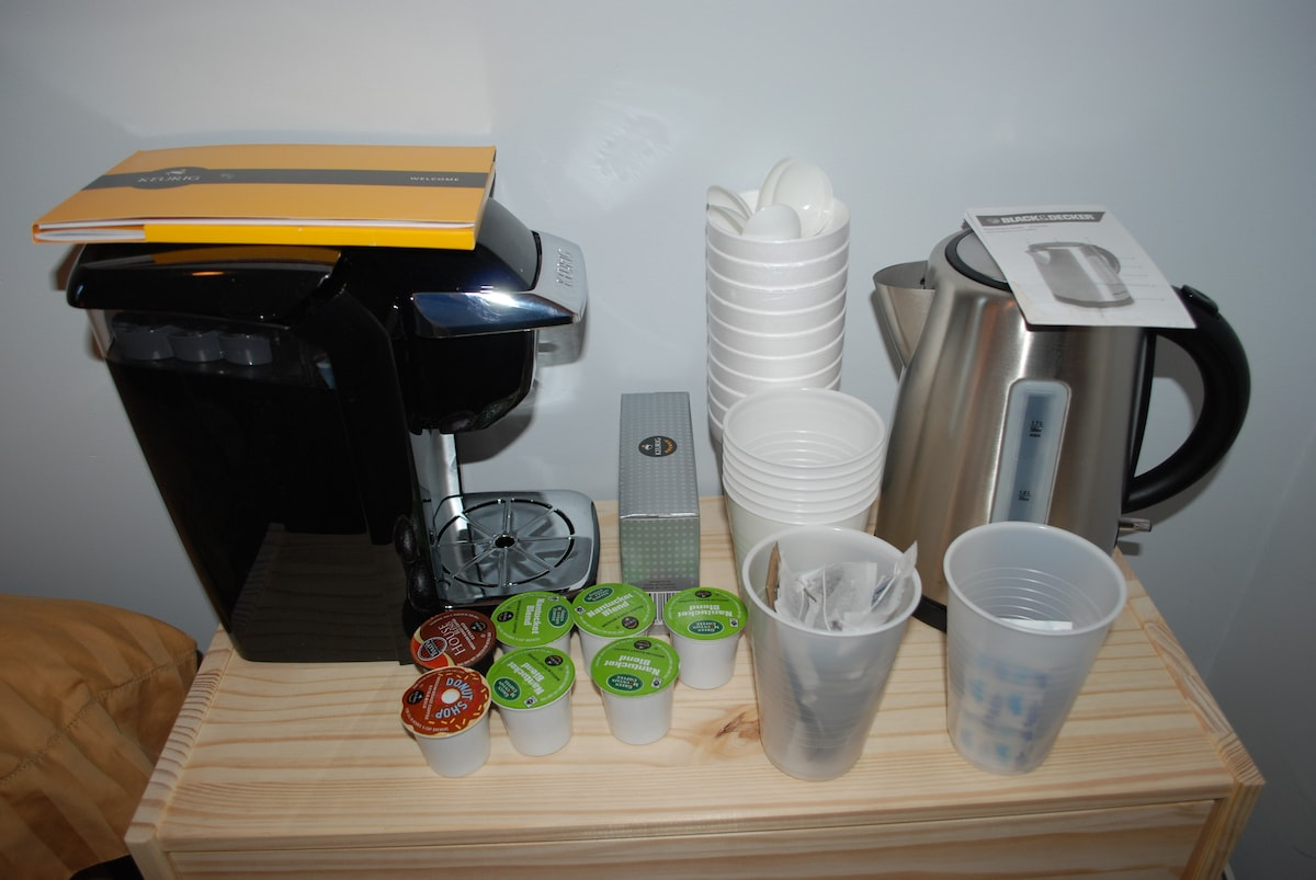 Coffee, tea, and filtered water--some of the amenities I provide guests.
