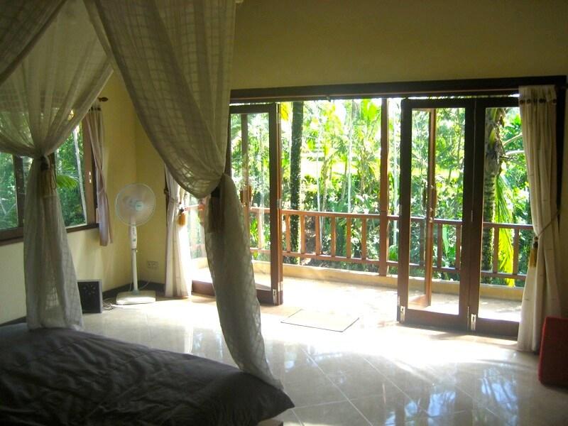 Views from top floor bedroom with long balcony.