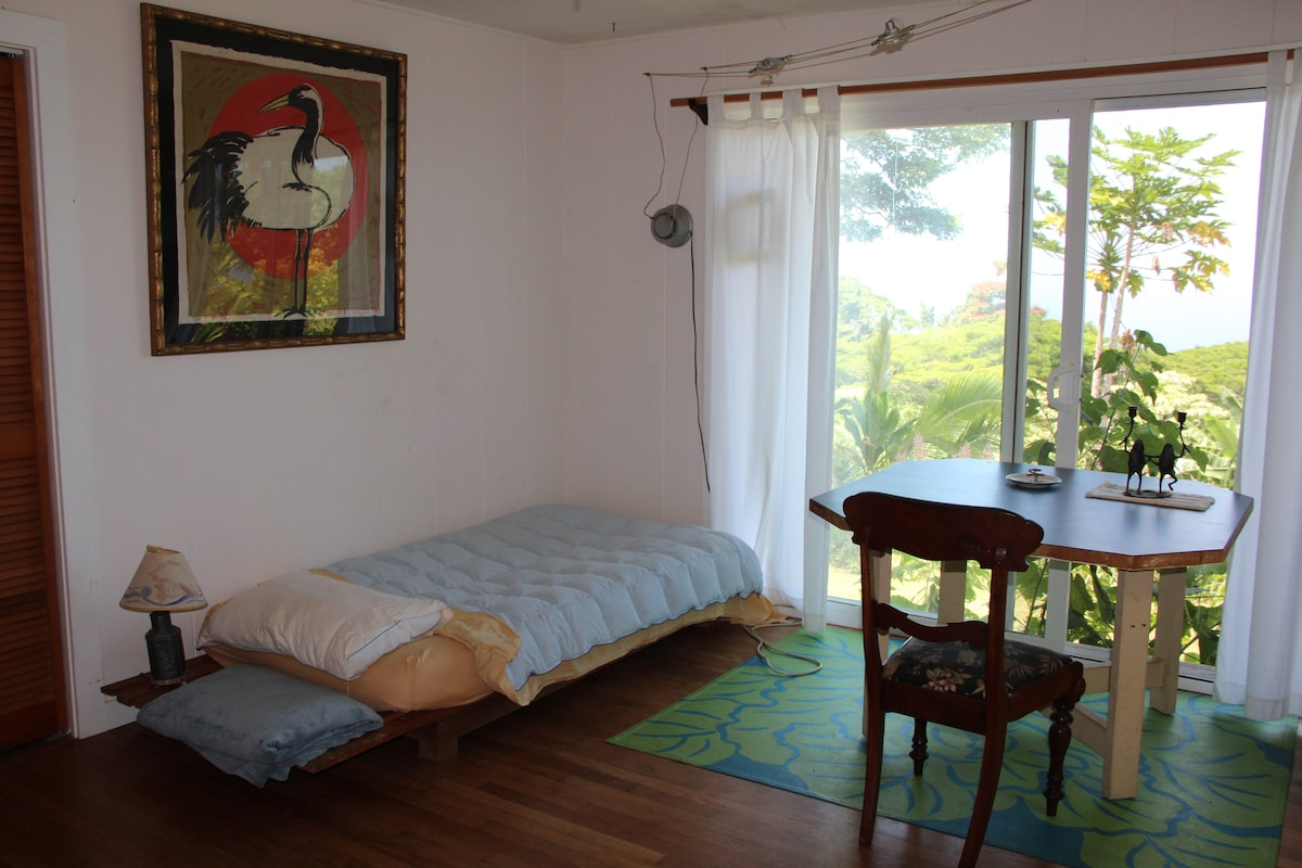 Single room with a view of the gardens
