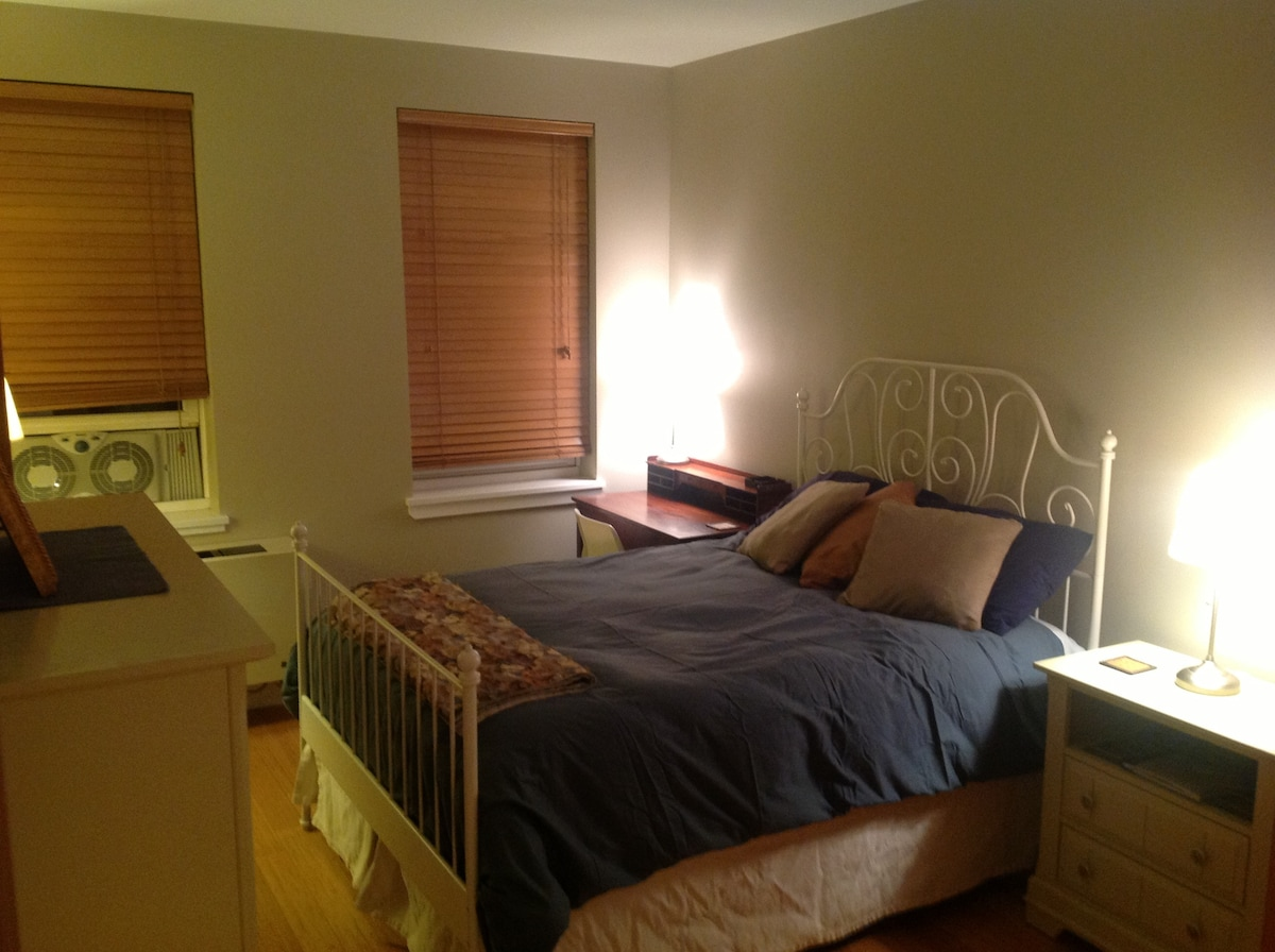 We painted and swapped out some furniture. Pillow top, firm mattress double bed. This is looking in from doorway.