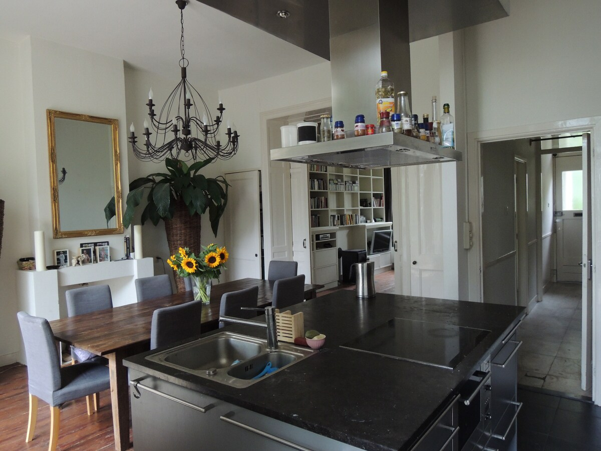 open kitchen and watch all the light from outside..
