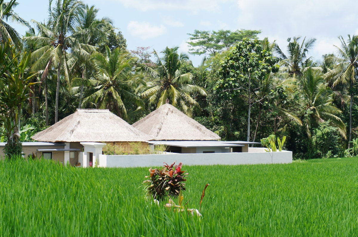 The villa was built on the edge of the land so that it will not spoil the beautiful rice field view.