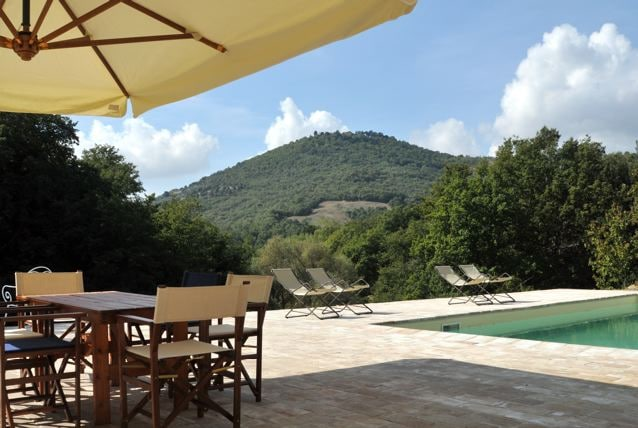 From the pool you have a beautiful view of the countryside, woods and the hill of Mongiovino.