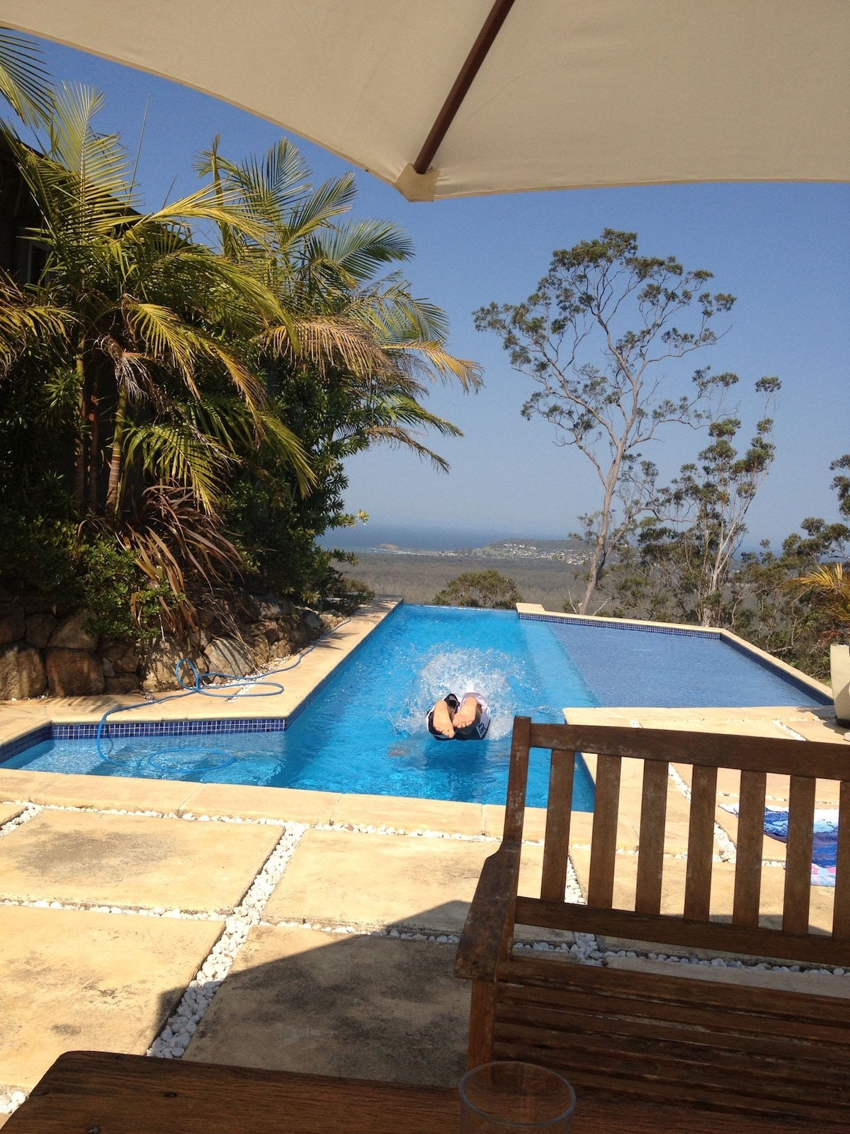 Private lap pool with views of Crescent Head Point