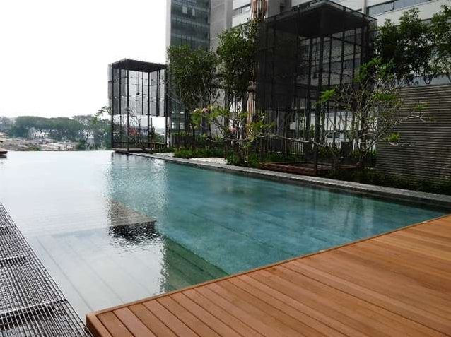 The PJ8 Service Suites Infinity Pool and hanging garden.