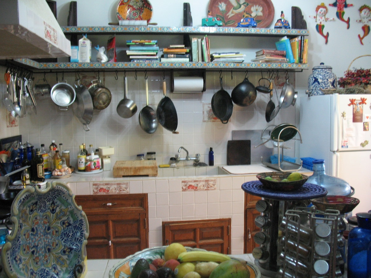 There is a fully equipped kitchen. You may choose to have breakfast prepared for you-all with organic ingredients some of which could be from Patricia's urban garden. There is a washing machine on the premises and a maid and gardener available weekly.