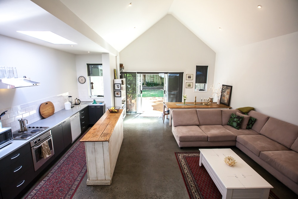 Kitchen & living area, direct access to deck and entertaining space.