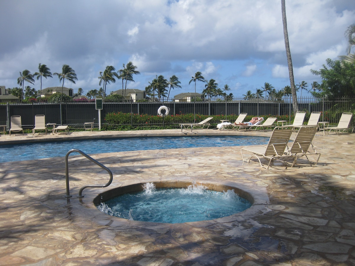 Our Pool and Jacuzzi at the Poipu Kai Resort
