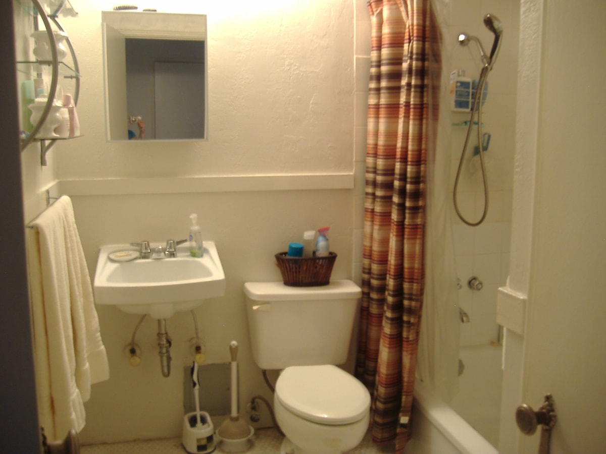 Spacious bathroom to share. Varying schedules means no need to vie for it.