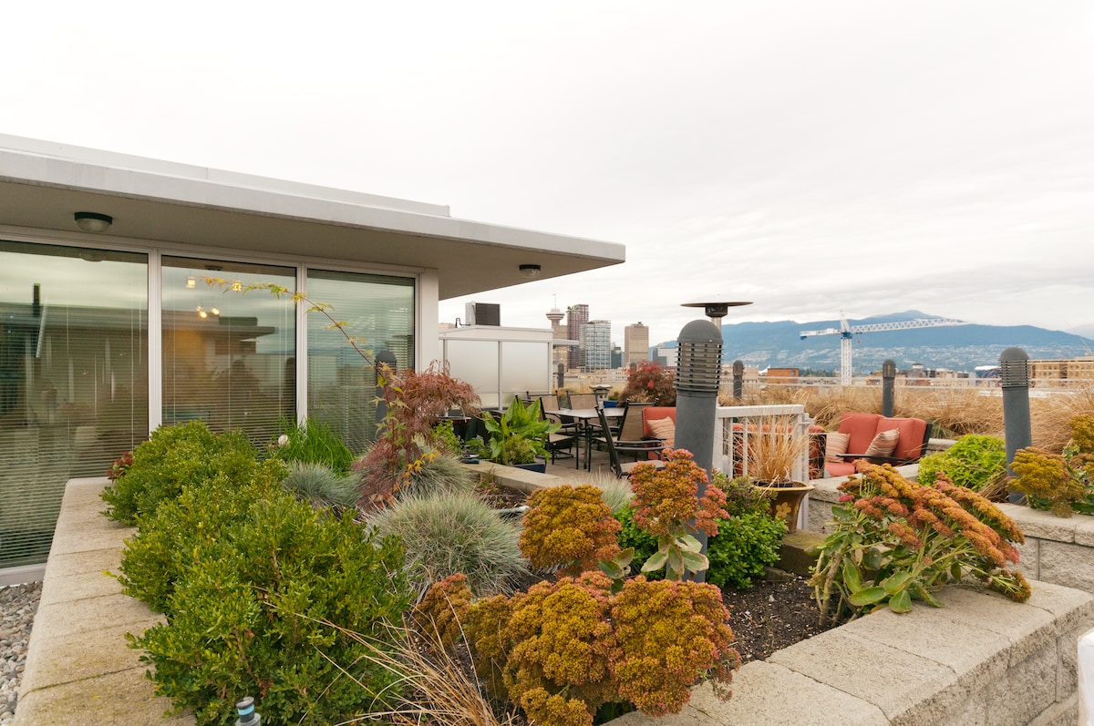 A private terrace surrounded by gardens, overlooking the city and mountains.