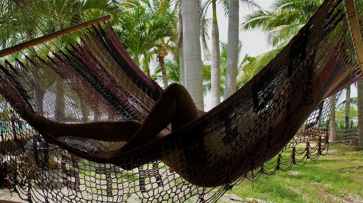 chillaxing on the terrace hammock watching the waves roll in