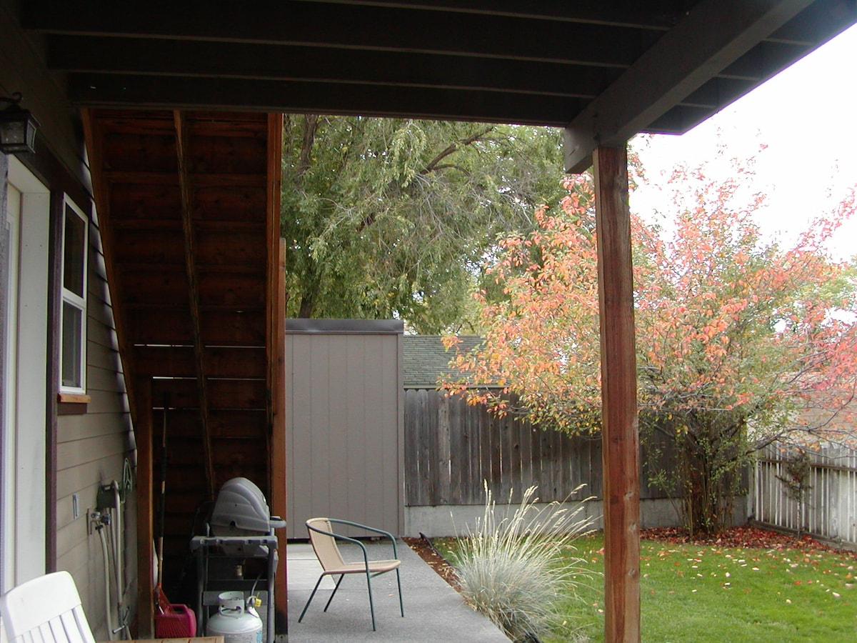 Backyard barbeque and deck area