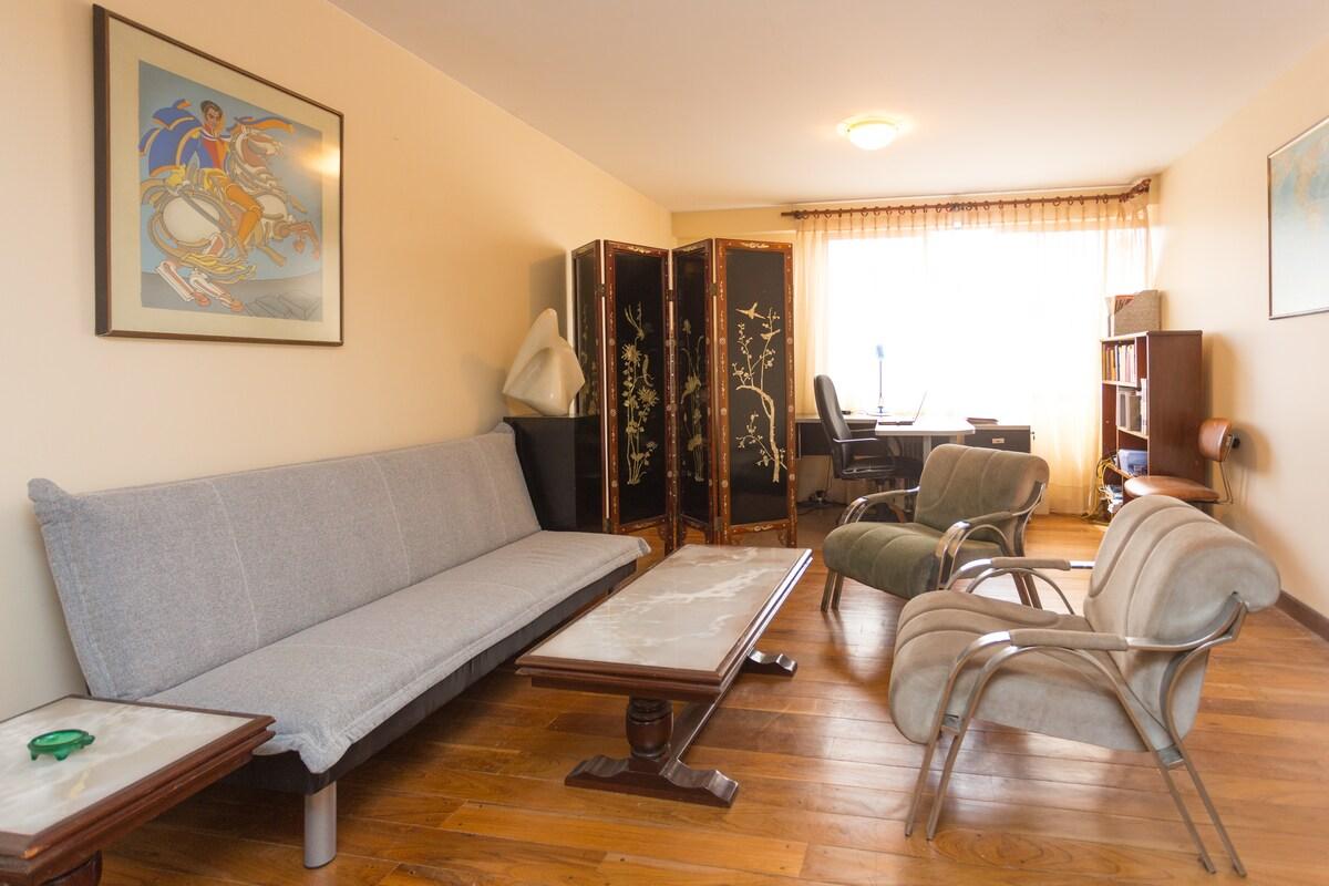 This is the living room as seen upon entering the apartment. ||  Vista de la sala al entrar al departamento.