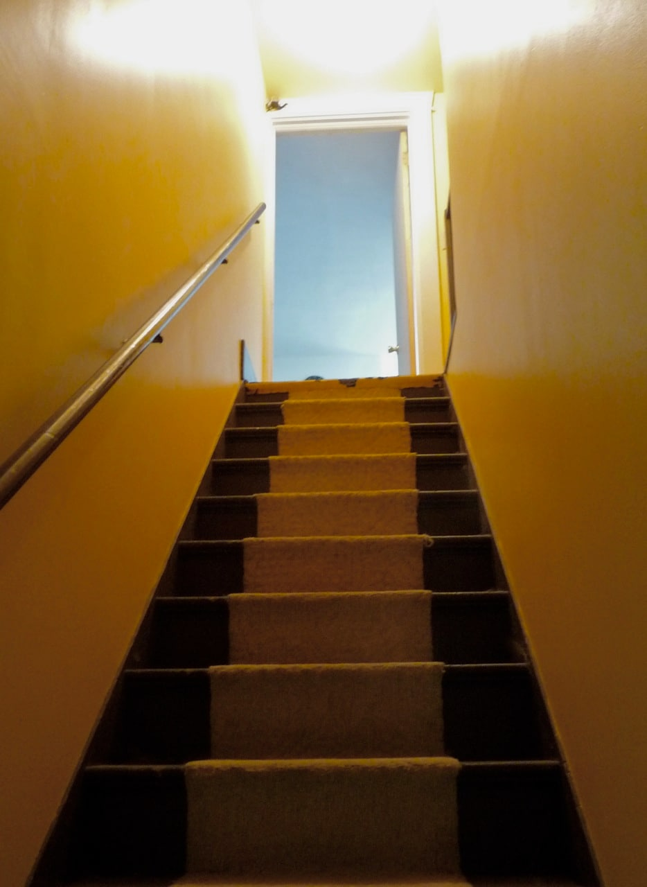 Upstairs to your apartment.