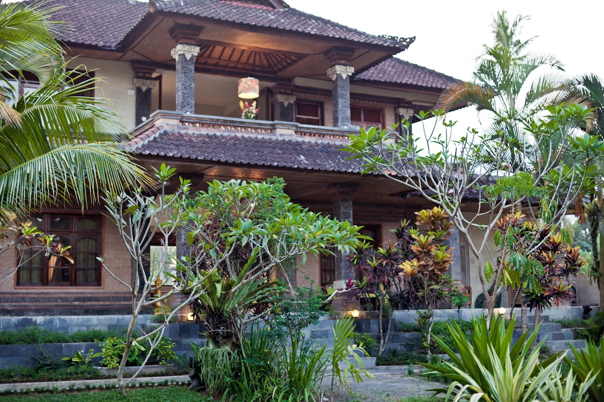Villas front view with main entrance and terraces