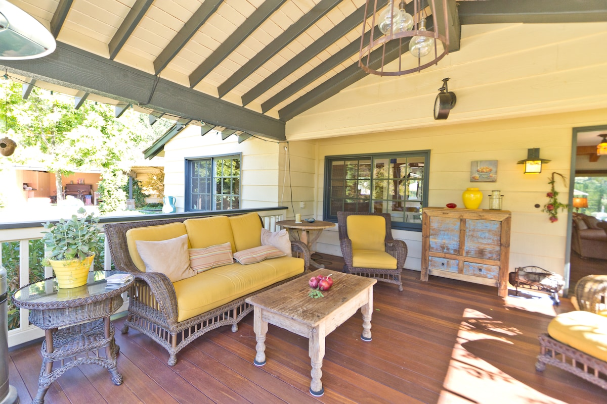 Mahogany-decked front porch - the best place to watch Ojai's fabulous sunsets