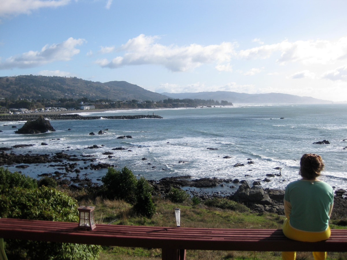 Enjoying the ocean view from the deck.