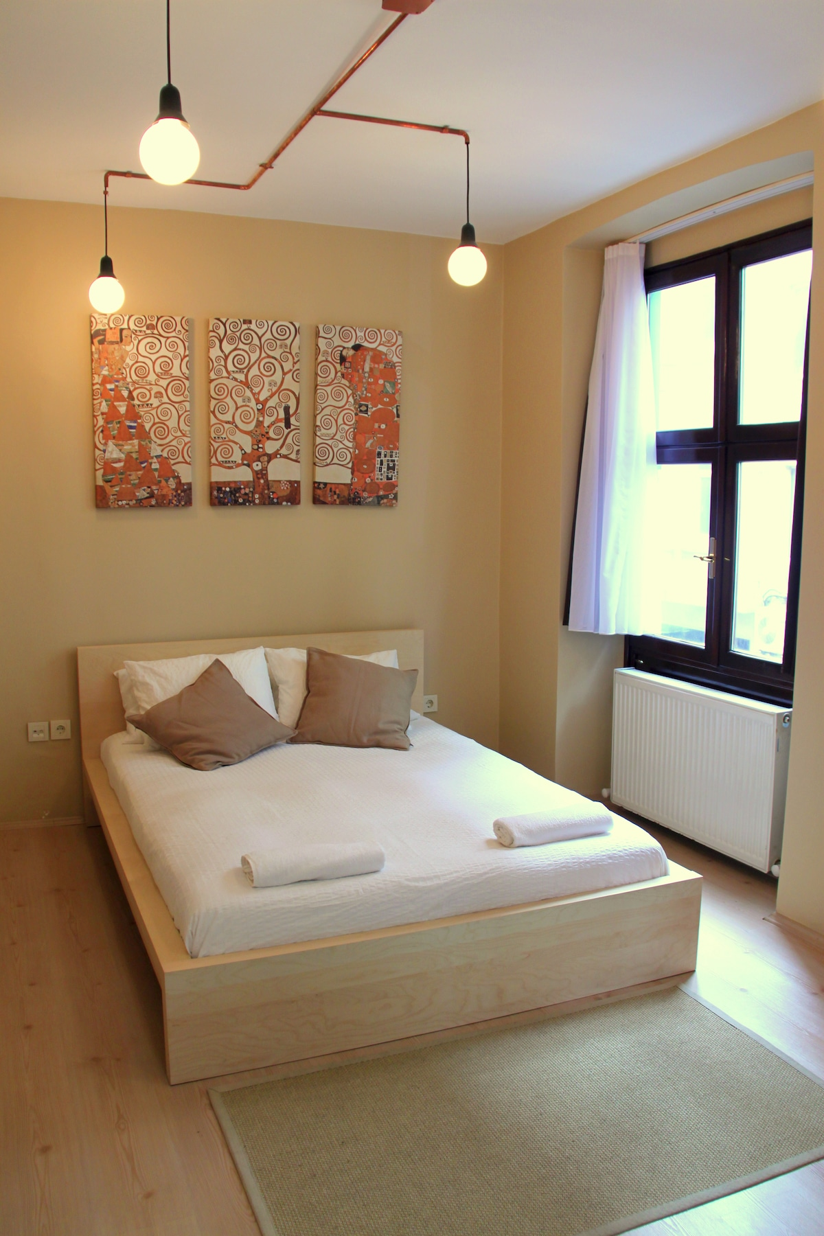 Bedroom, notice the copper tubes of the lighting. I worked hard on it so say something nice!!
