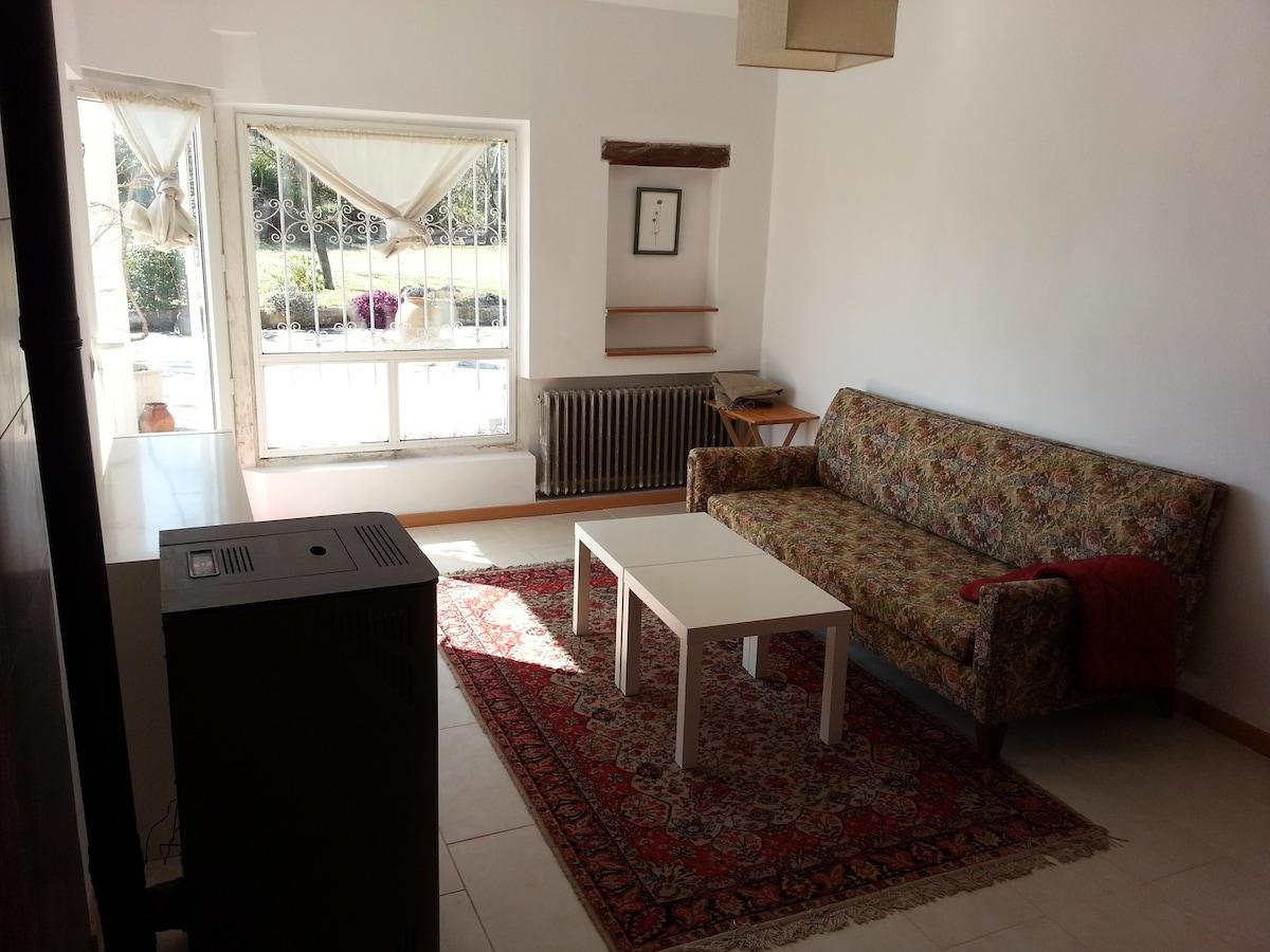 Salon acogedor con sofá cama, estufa de pellets y salida al jardín