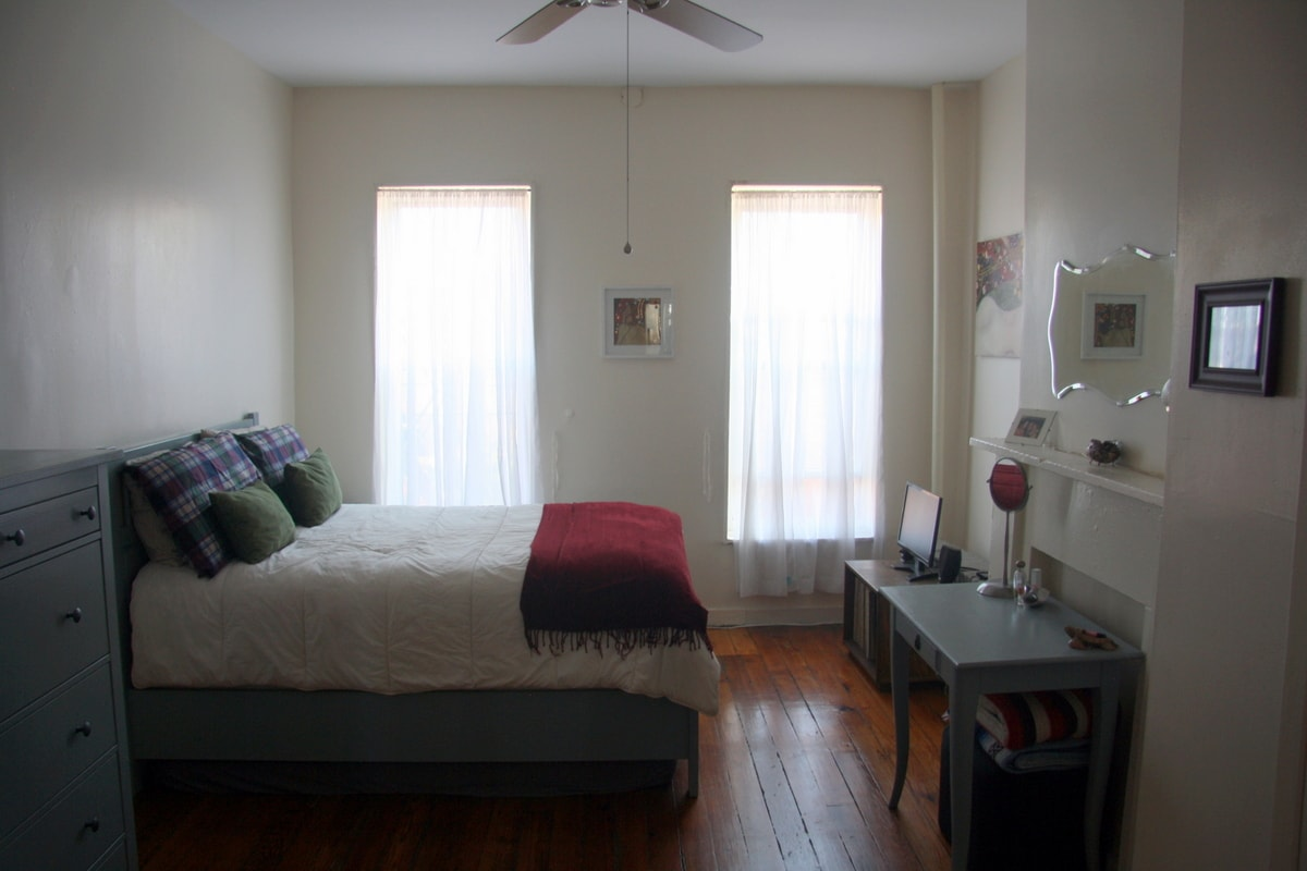 The bedroom is spacious and sleeps two comfortably. There is also a futon under the bed that can be pulled out for extra sleeping space.