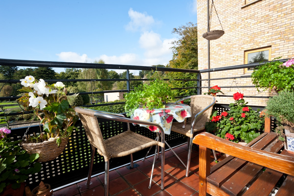 Our balcony where we grow herbs and flowers & enjoy the view