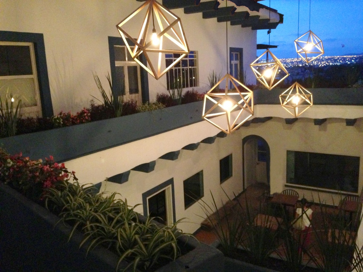 Lamps hanging from our patio
