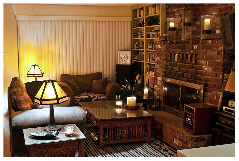 Cozy, candle-lit living room with fireplace and mission lamps.  The perfect place to warm up after a day on the slopes.