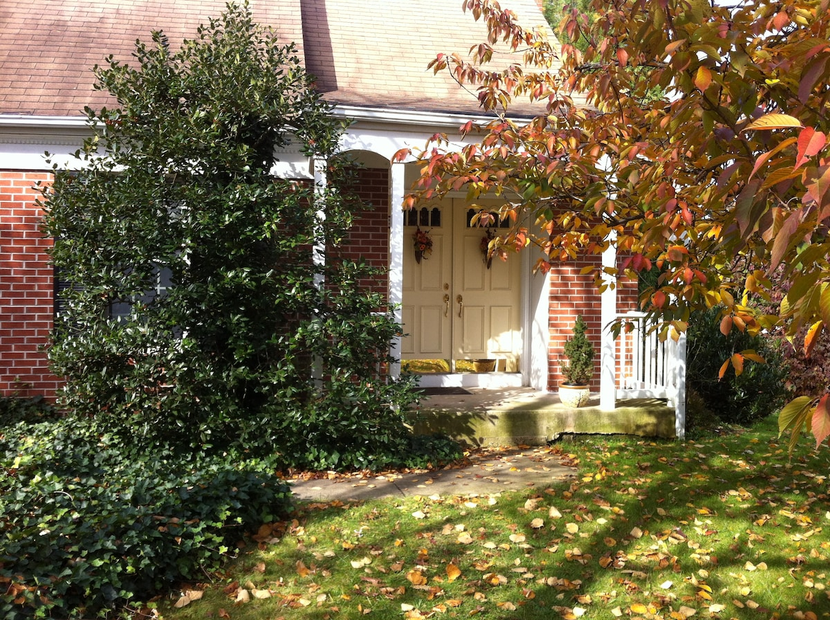 Home of Peace in a quiet suburban neighborhood, close to park with waking paths and stream
