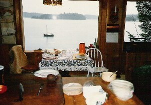 Dining area and water view