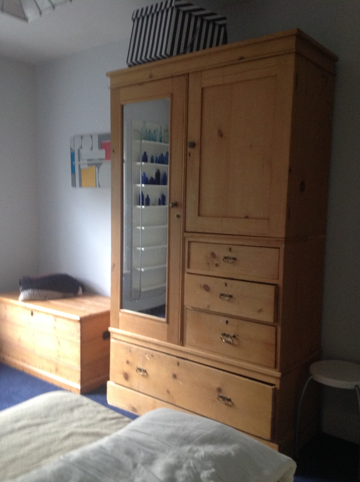 Plenty of storage space. Lockable wardrobe, cupboard and drawers.