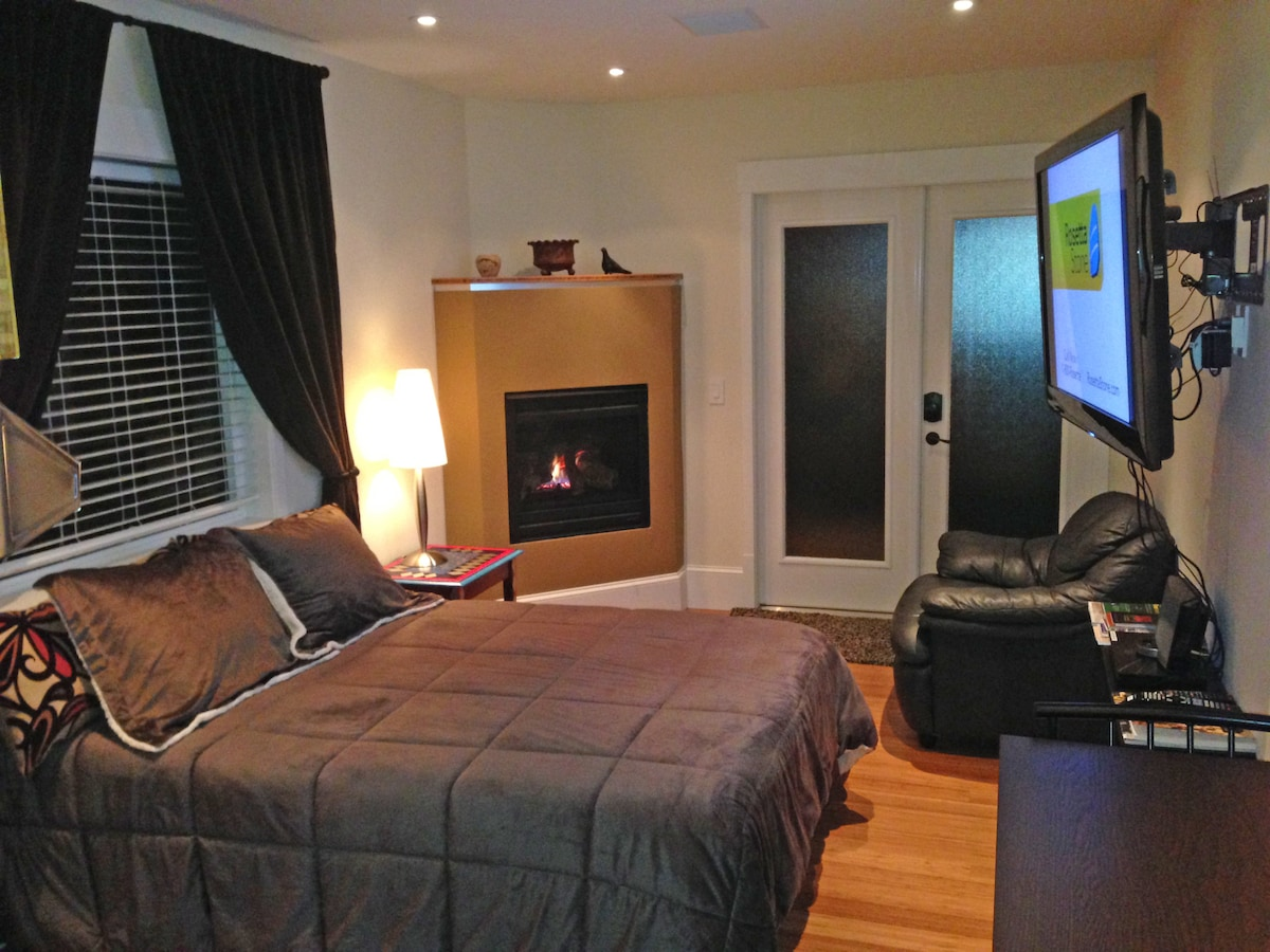 """Castro Studio Private Sunny Garden with Real Bed, Fireplace, 50"""" plasma TV, free WiFi, DVD player, Bose sound system, double doors exit to garden."""