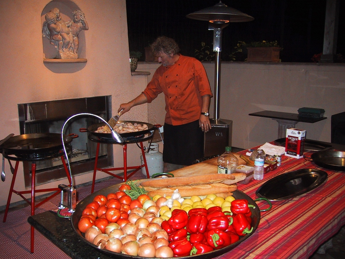 Gourmet meals, like this paella, can be arranged onsite with sufficient notice