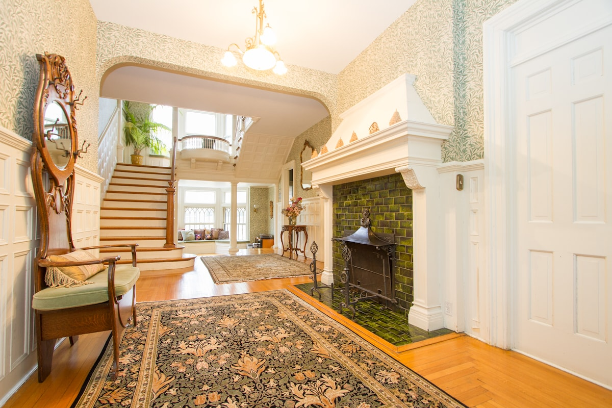 This is the front hallway of our home.  The balcony is a very unusual feature for a Victorian home.